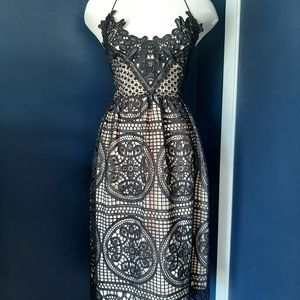 Two sisters black lace dress
